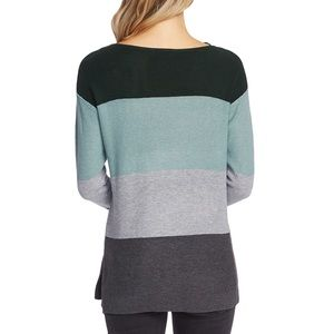Vince Camuto STRIPED WAFFLE-KNIT SWEATER